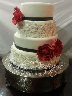 Red Peony Wedding Cake - Cake by Cake Boutique Monterrey