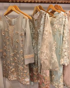 """Pastels done right by ✔️ get your hands on these at her Shadi Dresses, Pakistani Formal Dresses, Pakistani Party Wear, Pakistani Wedding Outfits, Pakistani Couture, Pakistani Dress Design, Indian Dresses, Indian Outfits, Pakistan Fashion"