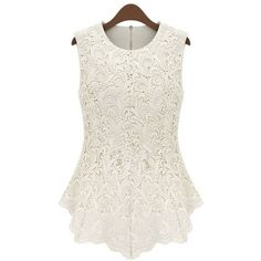Women's round neck sleeveless irregular hem solid color slim fit lace... ($16) ❤ liked on Polyvore featuring tops, vessos, shirts, white tops, white sleeveless shirt, no sleeve shirt, lacy shirt and sleeveless shirts