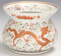 """CHINESE PAINTED PORCELAIN BOWL with dragons Diameter- 9 1/4"""""""