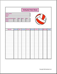 volleyball practice plan template - volleyball stat sheet