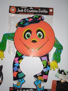 large vintage beistle halloween decoration jack o lantern jointed goblin pumpkin - Beistle Halloween Decorations