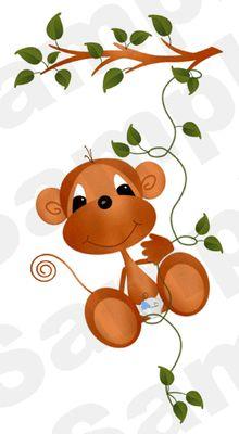 Monkey Boy Nursery Wallpaper Border Wall Art Decals #decampstudios