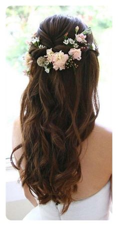 Wedding Hairstyles Last Minute Lavish Quality Half Up Half Down Hairstyles - City of Creative Dreams.Wedding Hairstyles Last Minute Lavish Quality Half Up Half Down Hairstyles - City of Creative Dreams Wedding Hairstyles Half Up Half Down, Wedding Hair Down, Wedding Hair Flowers, Wedding Hairstyles For Long Hair, Wedding Hair And Makeup, Flowers In Hair, Wedding Nails, Boho Flowers, Party Hairstyles