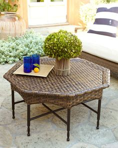 Wicker Outdoor Cofee Table at Neiman Marcus.