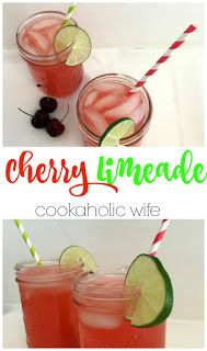 Cherry Limeade - sweet and tart, refreshing and an absolute perfect addition to your next cookout or party.
