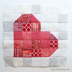 Heart quilt block - love this idea! Follow link from this post to instructions (towards bottom of post - linked post has no Pinterest button) inc cool shortcut for all quilting & video!