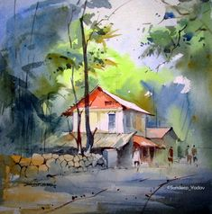 House in the woods watercolor painting Scenery Paintings, Watercolor Pictures, Watercolor Landscape Paintings, Indian Art Paintings, Landscape Art, Watercolor Architecture, Guache, Watercolor Techniques, Watercolor Illustration