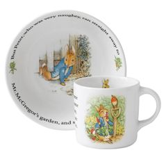 Pottery Bright Wedgwood Peter Rabbit Christening Set Bowl/cup/plate/money Box