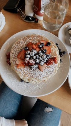 Blueberry pancakes with powdered sugar and fresh berries. I Love Food, Good Food, Yummy Food, Food Goals, Aesthetic Food, Food Cravings, Food Inspiration, The Best, Food Porn
