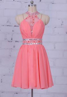 $149.00 Halter homecoming dress,2017 short prom dress,beaded prom dress