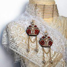 """Купить Серьги """"Crown"""" - серьги из бисера, бисерные серьги, вышитые серьги…"""