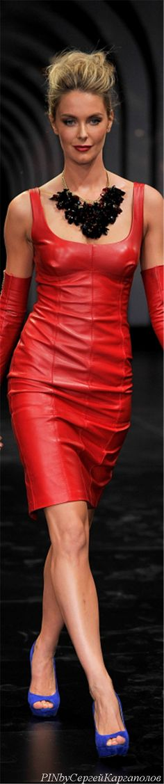 Jennifer Hawkins red leather tank dress opera gloves