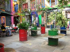 covent garden london industrial waste barrel garden planters benches