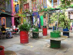 covent garden london industrial waste barrel garden planters benches