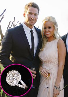 Bachelor Brad Womack proposed to Emily Maynard with a cushion-cut ring. It features 263 round brilliant-cut diamonds and is set on a split shank band. Celebrity Rings, Celebrity Engagement Rings, Celebrity Weddings, Celebrity Style, Bling Wedding, Wedding Goals, Wedding Pics, Dream Wedding, Neil Lane Engagement