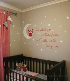 Owl Wall Decal Nursery Wall Decals Owl Vinyl by TweetHeartWallArt