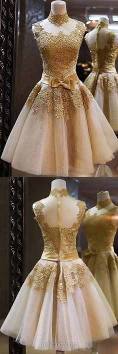 Cheap Short Homecoming Dresses,High Neck Tulle Cocktail Dresses,Appliques Lace Evening Party Gowns,Inexpensive Knee-length Prom Dresses