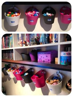 20 Creative Organization Ideas for Kids Playroom - Nicole Z. - 20 Creative Organization Ideas for Kids Playroom 20 Creative Organization Ideas for Kids Playroom - Creative Toy Storage, Diy Toy Storage, Kids Storage, Storage Ideas, Hanging Storage, Diy Hanging, Hanging Baskets, Doll Storage, Playroom Storage