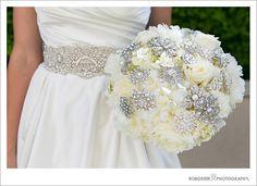 Broach Bouquet--yellow roses, diamond & yellow pins, gray ribbon