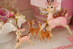 Super cute pink and brown vintage Christmas reindeer. #vintage #kitsch #Christmas #decorations
