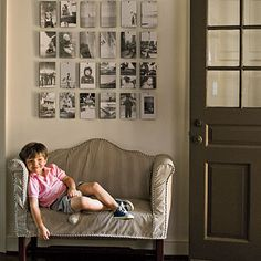 Nice idea for displaying photos. Southern Living. Home of Barbara Cosgrove. Photo :: Laurey W. Glenn.