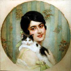 Léon François Comerre (Francia, 1850-1916). Beauty with her favorite Kitten.