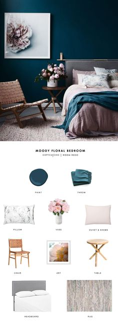 This gorgeous moody pink and teal bedroom gets recreated for less by copycatchic luxe living for less budget home decor and design room redo http://www.copycatchic.com/2017/02/copy-cat-chic-room-redo-moody-floral-bedroom.html?utm_campaign=coschedule&utm_source=pinterest&utm_medium=Copy%20Cat%20Chic&utm_content=Copy%20Cat%20Chic%20Room%20Redo%20%7C%20Moody%20Floral%20Bedroom