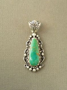 Silver Manassa Turquoise Pendant for $129.00 | Native American Jewelry