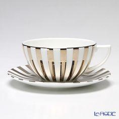 Wedgwood Jasper Conran Platinum tea cup and saucer (stripes)
