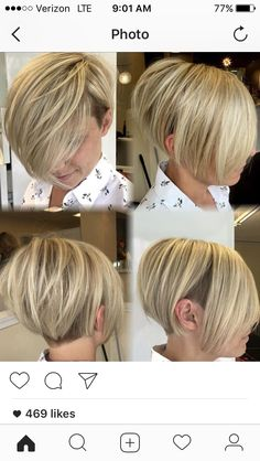 Blonde short haircut. Long pixie