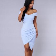 Secret moments dress Baby blue skin fit dress with side pleating Fashion Nova Dresses Midi