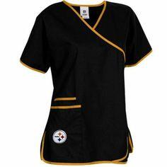 Pittsburgh Steelers Ladies NFL Mock Wrap Scrub Top - Black