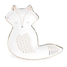 Coupelle renard en céramique blanche FOX