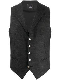 Black Waistcoat, Lapels, Welt Pocket, Front Button, Black Cotton, Cotton Spandex, Vests, Women Wear, Blouses