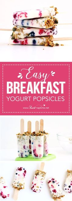 asy Breakfast Yogurt Popsicles - A delicious, healthy breakfast that is quick and easy to make and will keep you cool all day long.