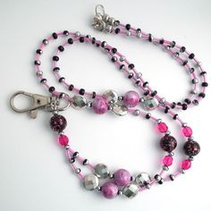 Beaded ID Badge Lanyard Pink and Silver by Plumbeadacious on Etsy, $24.00