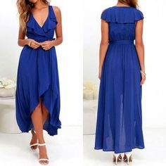 Blue Plain Irregular Plunging Neckline Fashion Polyester Maxi Dress