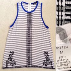 THML embroidered striped tank Size M, stretchy (fits best on juniors 5-7, woman's 4-6) • 95% rayon, 5% spandex • Excellent condition! • Any questions, ask away! I'm here to help  THML Tops Tunics