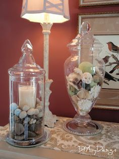 Decorating With Cloches U0026 Apothecary Jars  River Rocks Or Sand/epsom Salt  With Candles