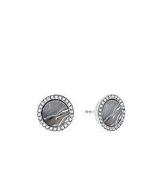 Pavé Silver-Tone Gray Acetate Stud Earrings by Michael Kors