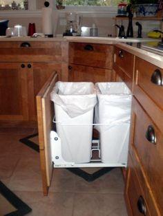 Custom Cabinets | Waste Basket Cabinet | Maple Cabinets