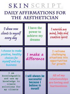 Daily Affirmations for the Aesthetician: We all make a difference!