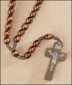 $5 Dark Brown Corded Wooden Rosary. Catholic | My Brother's Keeper Catholic Gift Shop. Buy Now at www.MBKCatholicGifts.com