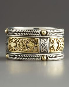Ring | Konstantino. 18k yellow gold scrollwork and bead details with sterling silver braided trim