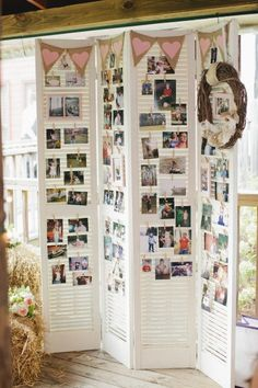 Old shutters to display pictures - Clarkesville Wedding at Glen-Ella Springs Inn from Gertie Mae's Floral Studio by ivy Diy Foto, Old Shutters, Wedding Reception Decorations, Wedding Themes, Wedding Colours, Wedding Tips, Table Decorations, Reception Ideas, Wedding Dresses