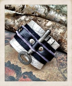 SALE Vintage skeleton key cuff bracelet leather key cuff by TornTo, $34.30