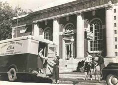 Blue Grass Regional Library bookmobile in front of the Maury County (Tenn.) Public Library, probably in the late 1950s or early 1960s.