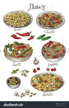 手绘的意大利面-食品及饮料,其它-海洛创意(HelloRF)-Shutterstock中国独家合作伙伴-正版素材在线交易平台-站酷旗下品牌 Menu Design, Food Design, Pizza Project, Desserts Drawing, Anime Bento, Cute Food Art, Food Cartoon, Western Food, Food Wallpaper