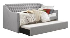 $500 - Homelegance Sleigh Daybed with Tufted Back Rest and Nail Head Accent, Twin, Grey